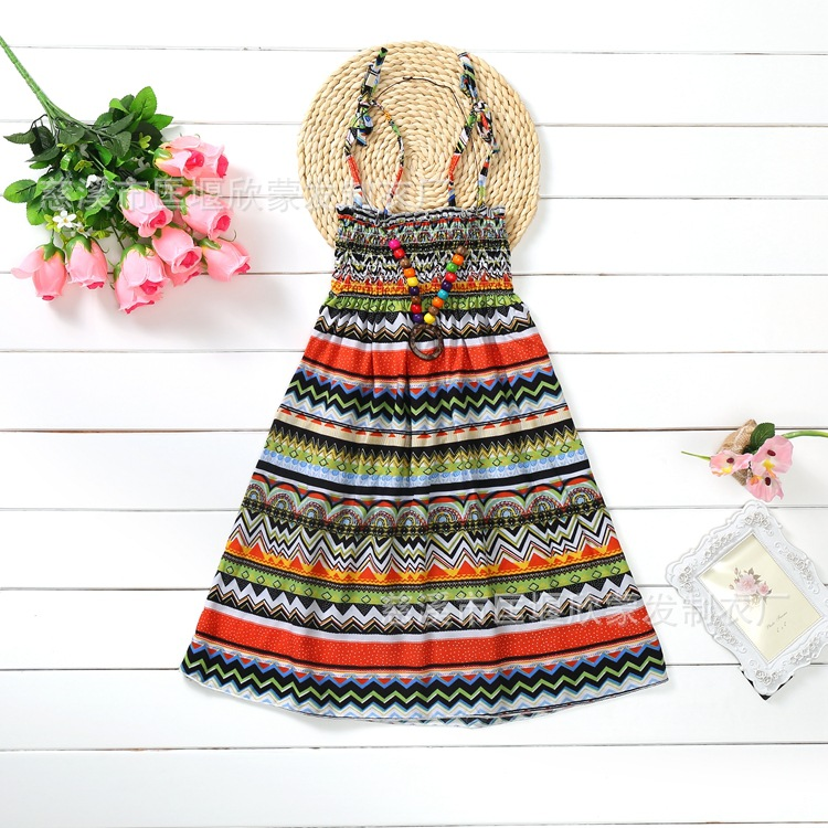 Teen Girls Summer Dresses Bohemian Beach Floral Princess Print Dress For Baby Girls 3-12Yrs Kids Clothing With Necklace Gift