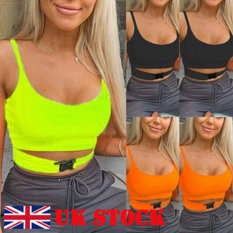 Sexy Fluorescent Green Black Spaghtetti Strap Crop Tops Summer Harajuku Solid Slash Neck Camis Women Neon Streetwear Mujer