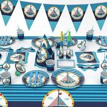 Décorations de table à thème marin et de table jetable pour enfants, assiettes et gobelets en papier, décorations de fête d'anniversaire sur le thème marin et bateau bleu