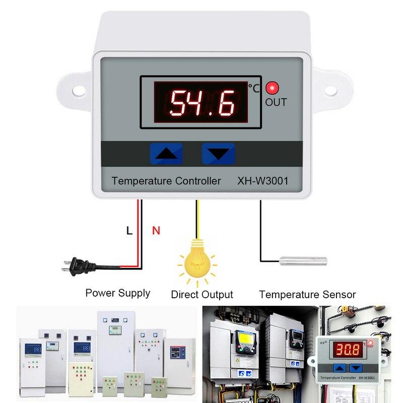 Цифровой светодиодный регулятор температуры 10 А, 12 В, 24 В, 220 В переменного тока, XH-W3001/W3002 для инкубатора, переключатель охлаждения, нагрева, т...