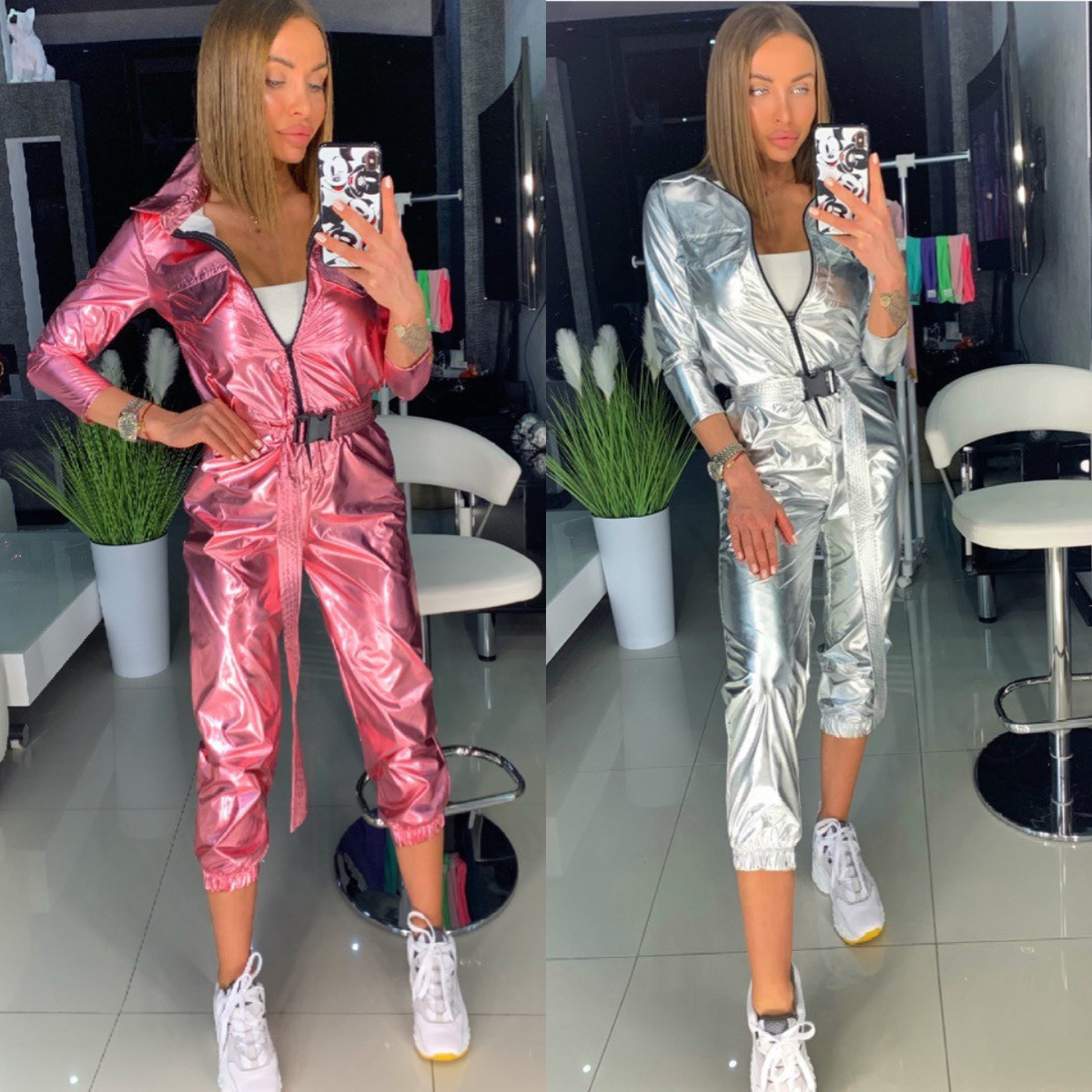 2020 Women Fashion Street Sports Jumpsuit Long Sleeve Shiny Glitter Holographic Overall  Silver Laser Hologram Glossy Romper