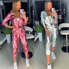 2020 נשים אופנה רחוב ספורט סרבל ארוך שרוול מבריק גליטר הולוגרפי כולל כסף לייזר הולוגרמה מבריק Romper