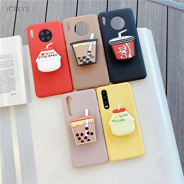 Soporte 3D para botella de bebida, soporte de cola, funda de teléfono blanda de dibujos animados para HuaWei P20 P30 Lite P40 pro Mate 10 20 30 honor 10 10i 9X