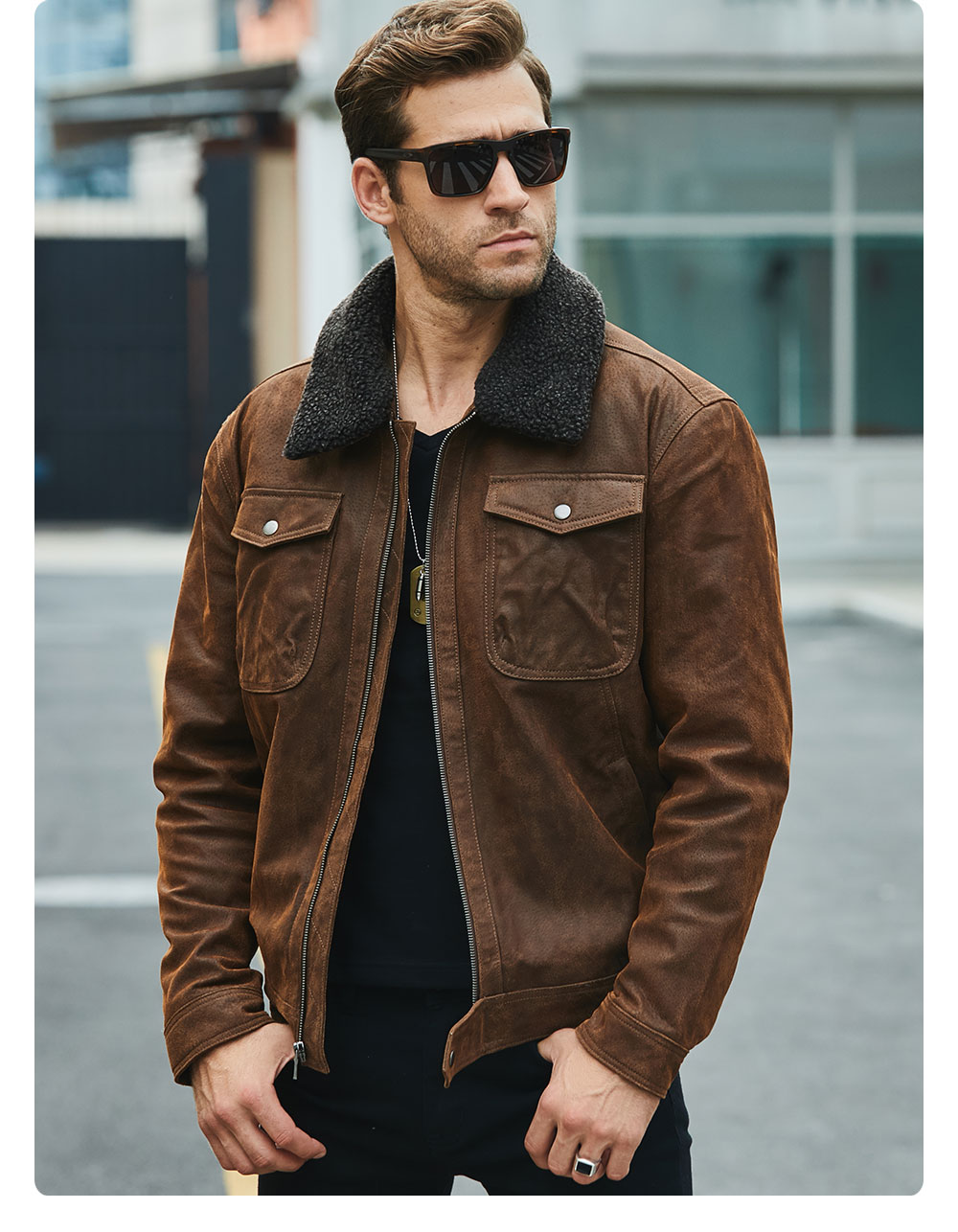 H305bfec4856b4fcd97acbd460fdd4d81d FLAVOR Men's Real Leather Jacket Genuine Leather jacket with faux fur collar male Motorcycle warm coat Genuine Leather Jacket