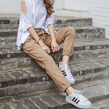Spring vintage chain black cargo pants women high waist pant
