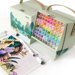 Arrtx 80 Warna-warna Cerah Set Alkohol Marker Alp Dual Tips Penanda Pena untuk Menggambar Sketsa Kartu Merancang untuk Seni karya Seni T