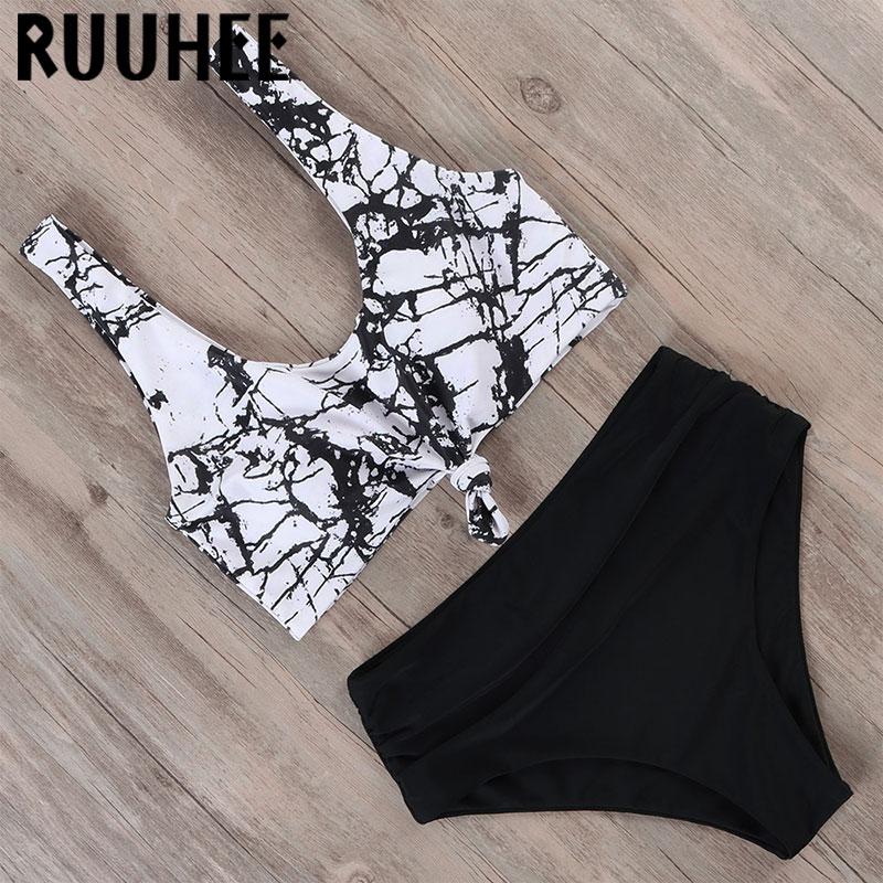 RUUHEE Bikini High Waisted Swimwear Women Swimsuit Bathing Suit Vintage Bikini Set 2020 Female Knotted Beachwear Swimming Suit