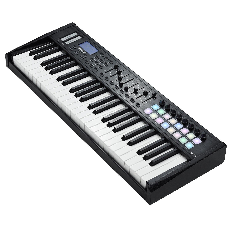 teclado midi display lcd com 61 teclas