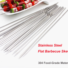 304 Stainless Steel Barbecue Skewers 15.75 Inch Length Flat Metal Grilling Skewers BBQ Sticks Set Reusable BBQ Tools Accessories