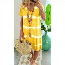 Tie Dye Summer Dress Women Casual Woman Dress Boho Female Knee Length Short Sleeve Plus Size Dresses for Women 2021 Sundress 5XL