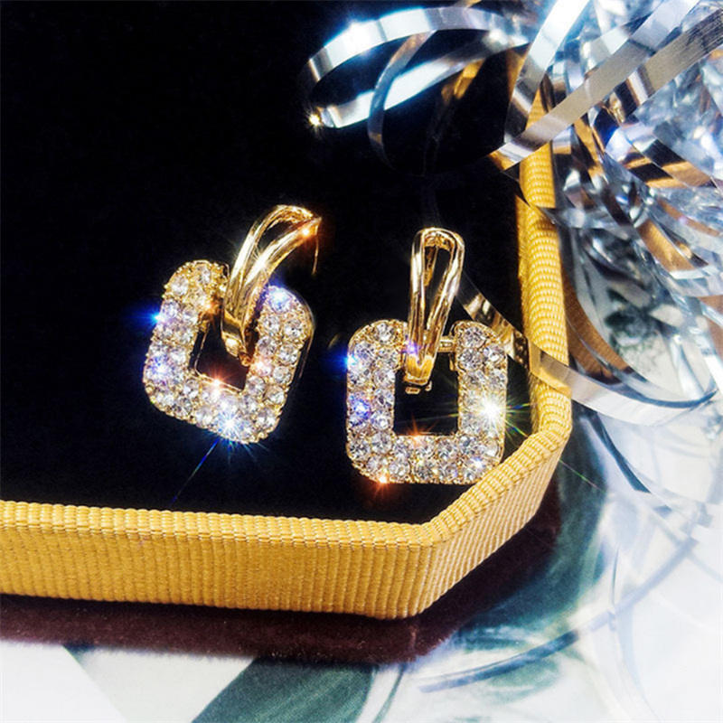 New Square Crystal Drop Earrings For Women Gold Shining Luxury Korean Style Fashion Party Jewelry Wedding Statement Earrings