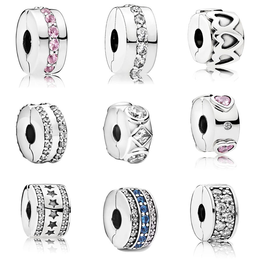 2020 Real 925 Sterling Silver Double Lined Clip Charm Fit Pandora Bracelet Explosion of Love Clip Spacer Clip Charm DIY Jewelry(China)