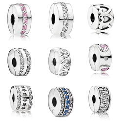2020 Real 925 Sterling Silver Double Lined Clip Charm Fit Pandora Bracelet Explosion of Love Clip Spacer Clip Charm DIY Jewelry