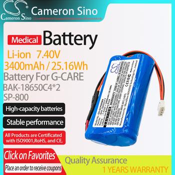 Bateria CameronSino do G-CARE SP-800 pasuje G-CARE BAK-18650C4 * 2 medyczna wymienna bateria 3400mAh 25 16Wh 7 40V niebieski Li-ion tanie i dobre opinie Cameron Sino CS-GCP800MX 3400mAh 25 16Wh CN (pochodzenie) Baterie Tylko 69 10 x 37 10 x 19 10mm Blue China Battery 365 days