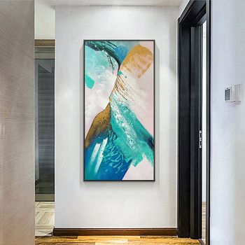 Abstract canvas painting wall art pictures green for living room home wall decor thick texture Acrylic quadro caudro decor