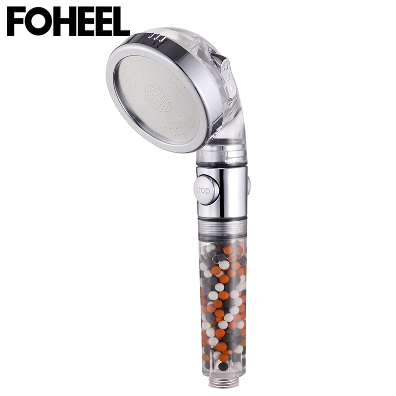 FOHEEL shower head hand shower adjustable 3 mode high pressure shower head water saving one button to stop water shower heads 5