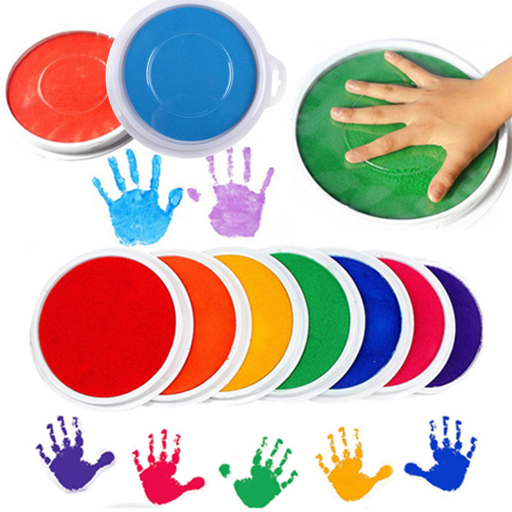 Colors DIY Ink Pad Stamp Finger Painting Non-toxic Craft Cardmaking Large Round For Kindergarten Kids Learning Education Toy