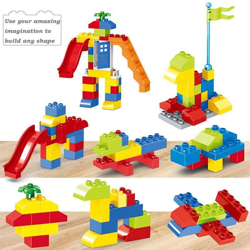 Haus Burg Bausteine Spielzeug Für Kinder Große Partikel Block Rennen Run Rutsche Blöcke Kompatibel Duploed Legoingly Stadt Blöcke