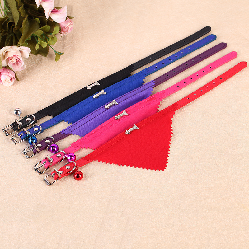 Dog Pet Fishbone Triangular Binder Hot Selling Pet Supplies Pu Neck Ring