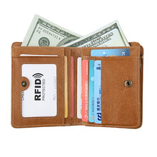 New Fashion RFID Men Wallets with Coin Bag Genuine Leather Zipper Small Mini Purses Vintage Cowhide Dollar Wallet Slim Money Bag 2017 new vintage slim blue jeans canvas wallets women men quality man best gift for boyfriend short zipper coin bag purses