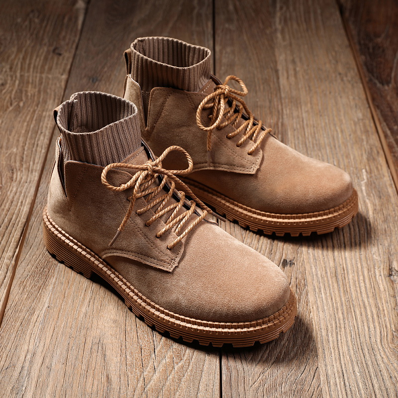 New Hot Sales Men's Sock Martin Boots High Quality Boot Leather Upper Fashion Design with Non slip Sole Outdoor Casual Shoes