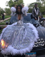Long Sparkly Prom Dresses 2020 Mermaid Style Long Sleeves Gala Silver Sequin African Ladies Black Girl White Feather Prom Dress