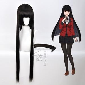 Image 4 - Anime Kakegurui Yumeko Jabami Cosplay Wig Straight Long Black Heat Resistant Synthetic Hair Cosplay Wig+Wig Cap Role Play