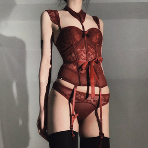 Image 2 - The New Wetlook Bust Bustier Corset Top with Suspenders Womens Night Sexy Clubwear Patent Backless  kawaii lingerie