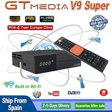 GT medya V9 süper DVB S2 Freesat uydu alıcısı V8 süper yeni sürüm H.265 WIFI + 4 yıl avrupa İspanya PT DE PO Cline TV kod çözücü
