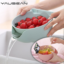 Double layer fruit plate snack storage boxes kitchen drain basket living room plastic creative gift home accessories