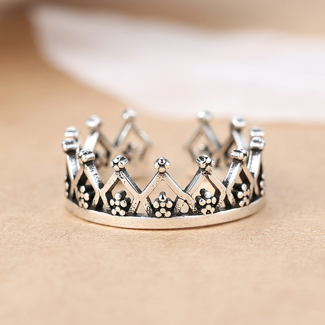 Bohemian Ethnic 925 Sterling Silver Crown Rings for Women Bridal Wedding Vintage Finger Rings Christmas Gifts 5