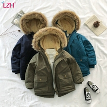 Children Jacket 2020 Autumn Winter Jacket For Boys Jacket Kids Warm Hooded Outerwear Coat For Boys Clothes 4 5 6 7 8 10 12 Year cheap Casual Polyester Cotton CN(Origin) Solid Regular Outerwear Coats Full Fits true to size take your normal size Heavyweight