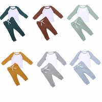2020 niños de algodón de las muchachas de los muchachos traje de chándal camiseta manga larga o-Cuello camiseta Tops pantalones de bebé conjunto de prendas para niño y niña