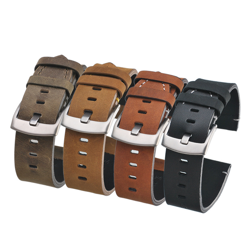 <font><b>Watch</b></font> <font><b>Band</b></font> <font><b>Leather</b></font> for Samsung Gear S2/S3/4 Ticwatch Huawei GT <font><b>Watch</b></font> 2 <font><b>Leather</b></font> <font><b>Watch</b></font> Strap Watchband Bracelet 20 <font><b>22</b></font> 24 26 <font><b>MM</b></font> image
