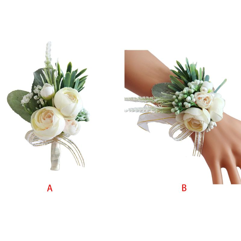 Handmade Imitaion Silk Tea Rose Blossom Fake Berries Boutonniere Wrist Corsage