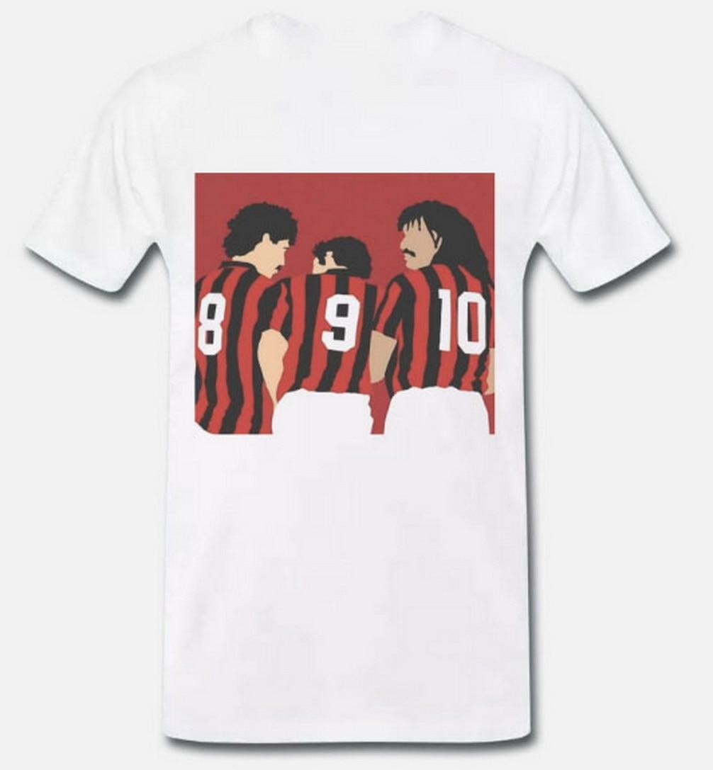 Tops Tee T Shirt Trio Dutch Van Basten Gullit Rijkaard Milan Years 80 1 S-M-L-XL T-Shirt Streetwear Casual