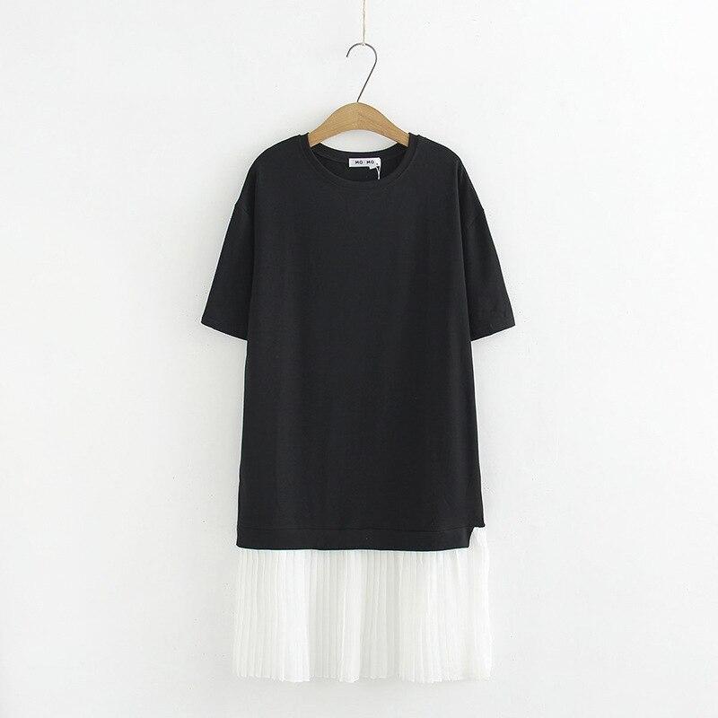 Fat Mm Wearable Plus-sized WOMEN'S Dress Korean-style Pleated T-shirt Dress 2019 Summer Wear New Style Short Sleeve Dress 967-80