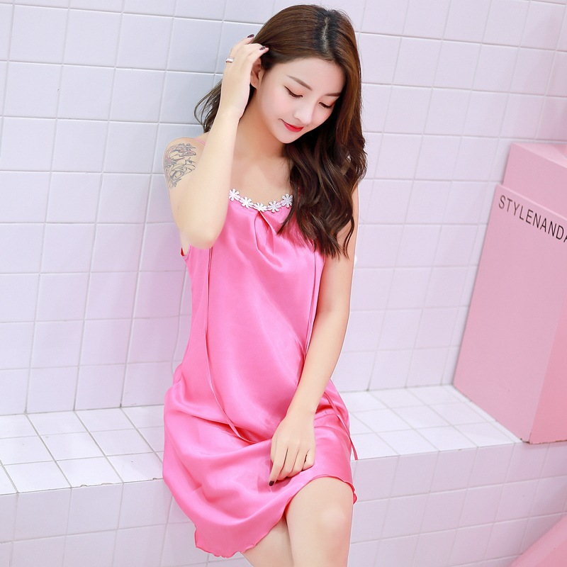 Imitated Silk Fabric Strapped Dress Women's Summer Nightgown Outer Wear Base Slip Dress Sexy Camisole Lotus Leaf Hem