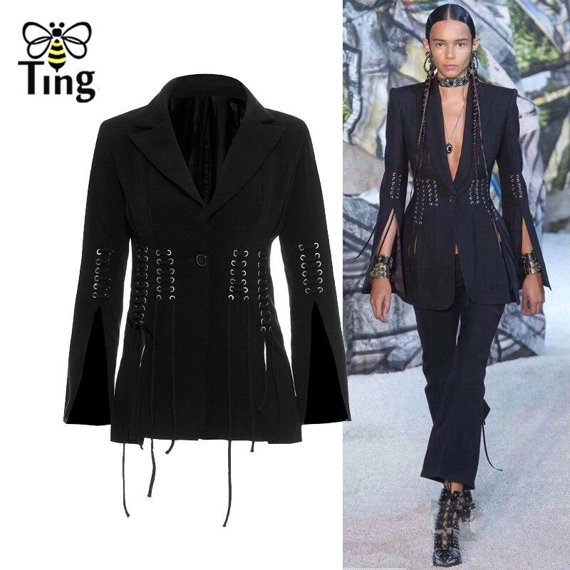 Tingfly 2020 Winter Runway Designer Women Blazers Notched Lace Up Slim Blazer Coat Women Elegant Office Work Outerwear Coat