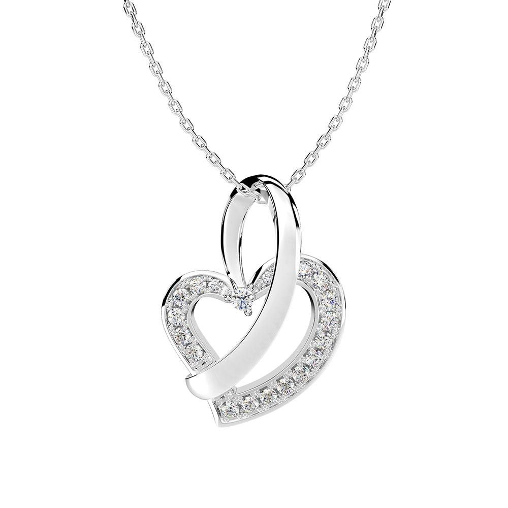 Wong Rain Romantic 100% 925 Sterling Silver Created Moissanite Gemstone Love Heart Women Pendant Necklace Fine Jewelry Wholesale
