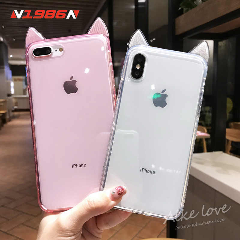 N1986N Telefoon Case Voor iPhone 6 6s 7 8 Plus X XR XS Max Luxe Bling Diamond Leuke Kat oren Clear Soft TPU Voor iPhone X Telefoon Case