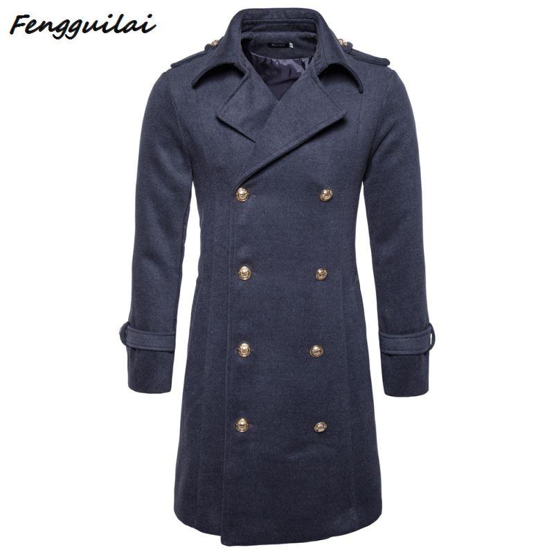 FENGGUILAI 2019 New Mens Wool Coat Men  Double-breasted Mens Overcoat Long Sleeve Men Coat Winter Slim Solid Male Trench Coat
