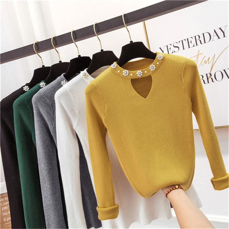2019 Sweety Pearl V-Neck Yellow Lady's Sweater Spring Slim Beading Pullover Female Pull Pink Sweater For Women Jumper Knit Tops