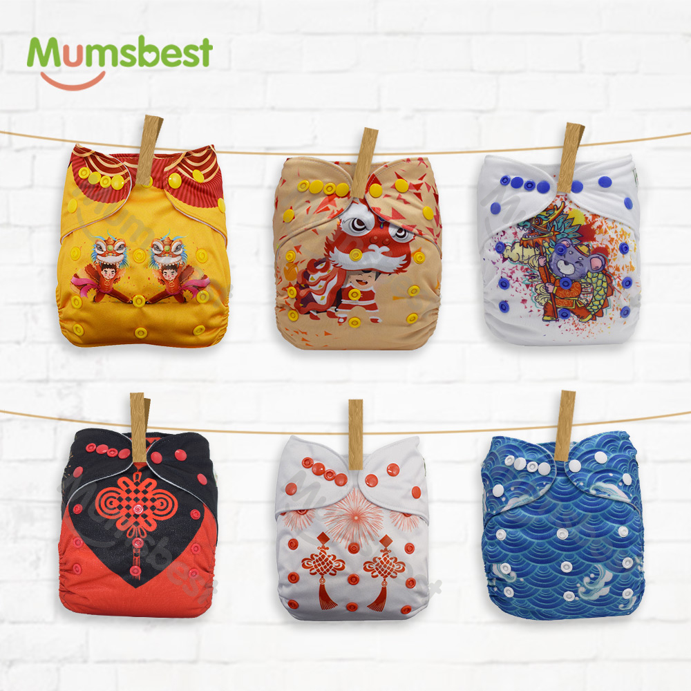 Mumsbest 2020 New Diapers Celebrate Day Cloth Nappy Sent With Wet Bag Washable Waterproof Baby Diapers Nappies 6PCS/Set