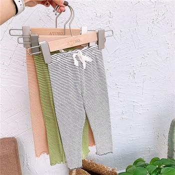 Mallas ajustadas WLG para niñas, Legging de algodón negro, verde, naranja, verano a rayas para niñas, pantalones que combinan con todo para 1-6T