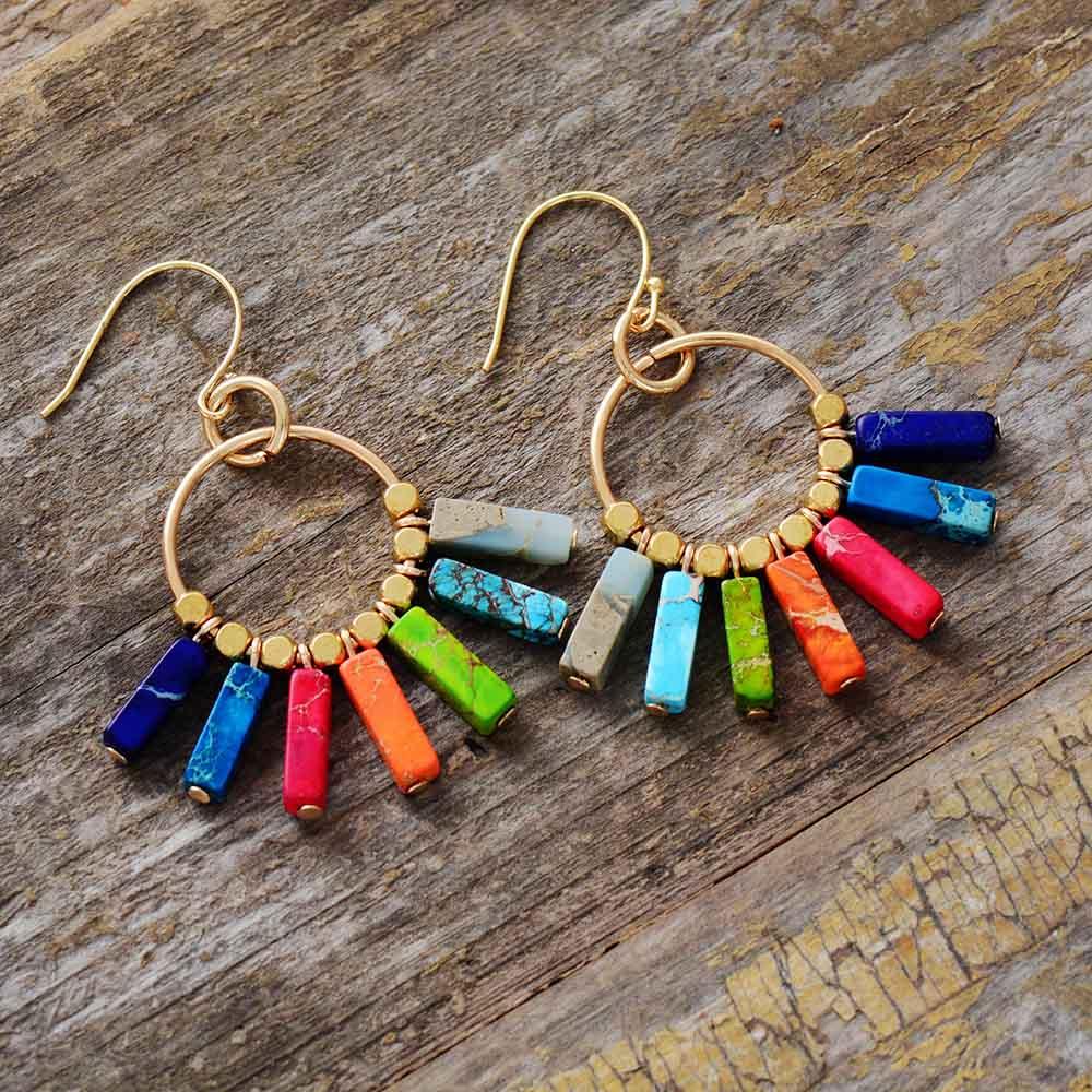 Chakra Earring Colorful Natural Stones Gold Color Beads Dangle Earrings Designer Bohemian Women Drop Earrings Gifts Dropship