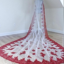 Cathedral Veil with Red Sequined Lace, Red Appliques Veil Wedding Veil, Veils Boho Veil, Chapel Veils, Cathedral Veils