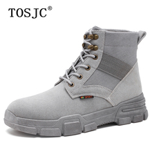 TOSJC Mens Anti-Skid Work Safty Shoe Desert Tactical Military Boots Man Non-slip Army Motorcycle Boot Ankle Lace-up Combat Boots все цены