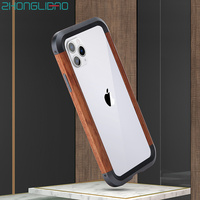Original Product Frame Case for Iphone 11pro Max Luxury Anti fall Wooden + Metal Bumper Protection Frame for Iphone 11 Cover