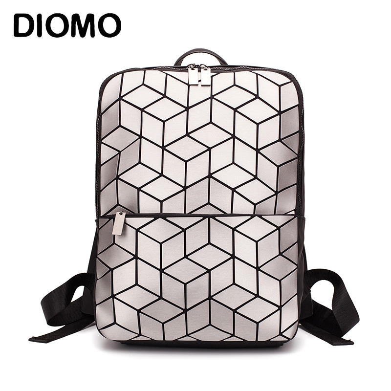 DIOMO 2019 Geometric Rhombic Sequin  Backpack Women Fashion Luxury Bagpack Female Bag Travel Laptop Bookbag For Girls Back Pack